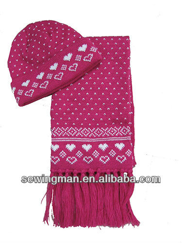 Winter Hats - Acrylic Jacquard Winter Hat Cap scarf set