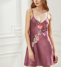 Strapless Applique Customized Chemise Silk Pajamas Women Sex Nightgown