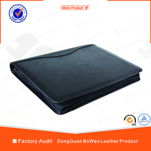2016 high quality embossing A4 Document Leather File Folder with caculator holder and document bags