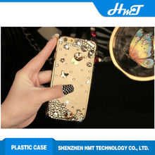 Fashion phone cases gold side and clear back cover Jewel style bling bling case for iPhone 6 Plus