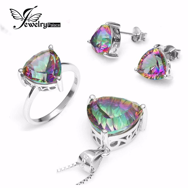 Wholesale Women Triangle Genuine Rainbow Fire Mystic Topaz Ring Pendant Earring Wedding Engagement Set 925 Solid Sterling Silver