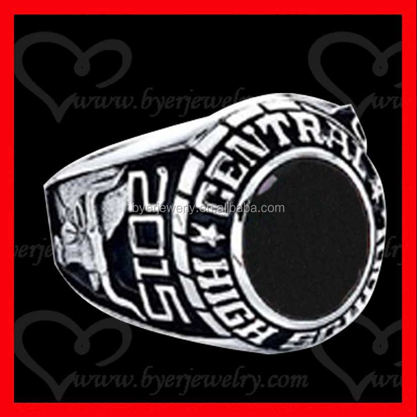 silver stainless steel customized black onyx class rings
