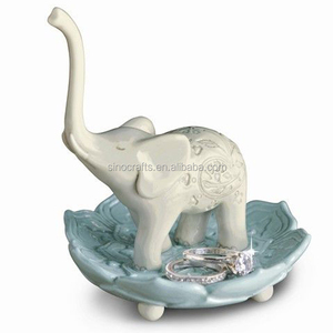 OEM ceramic wedding elephant ring holder stand dish
