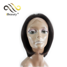 Free part bob style straight human hair short lace front wigs for black women