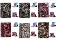 Leopard Pattern 360 Rotatable Side Flip Stand PC+PU Leather Case for iPad Air 2 with Elastic Belt
