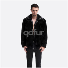 QD30511 Men Mink Fur Short Coat Solid Black Color