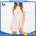 Custom wholesale clothing pink pockets A line dress loose dress