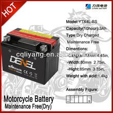 12v lifan motorcycle accessories /jis standard maintenance-free car battery