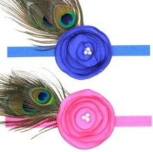 Baby Girl Kids Infant Peacock Feather Headband Hair Band Hair burned large flower stretchy top headbands