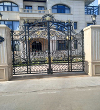 Customized simple design cast iron fences cheap wrought iron gate