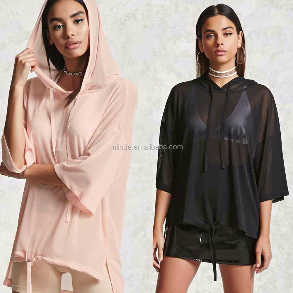 Shirts Designs Women Sheer High-Low Hooded Top Short Sleeve Blouses Tops Wholesale Latest Design Girls Top