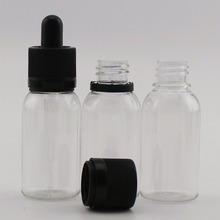 cosmetics bottle 30ml PET plastic dropper bottle with two type cap and glass pipette wholesale beard oil bottle