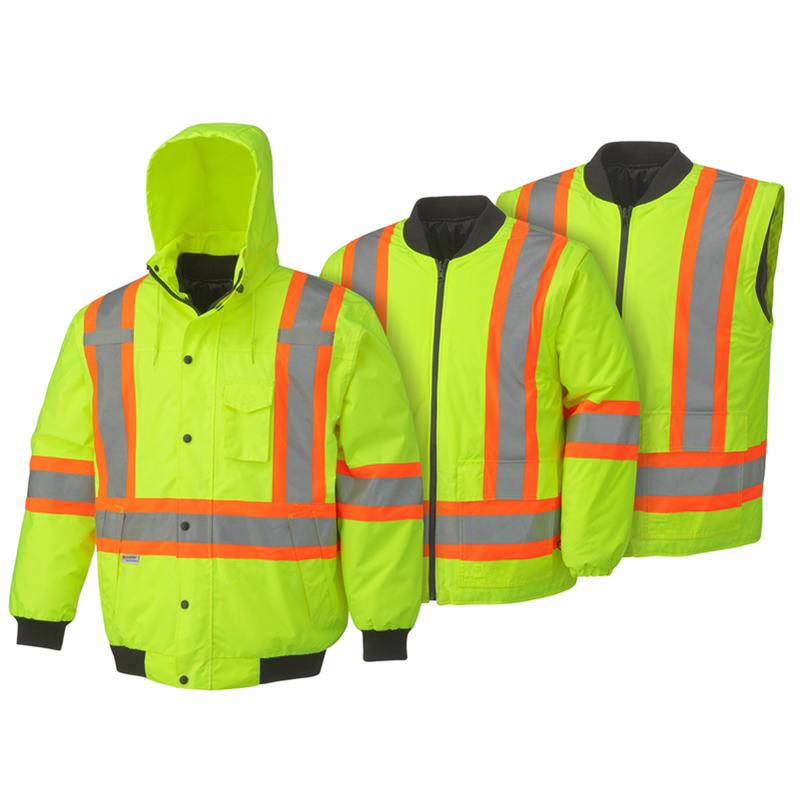 300 Denier PU coated oxford polyester waterproof reflective yellow coat,6-in-1 bomber jacket