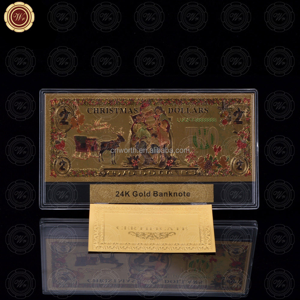 WR Collectible Christmas Design 24K Gold Banknote Colorful DIY American Paper Money /<strong>w</strong> Free Plastic Frame Desk Ornament