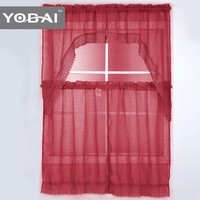 100% Polyester Modern Italian Fashion Line Latest Kitchen Curtain Design 2016