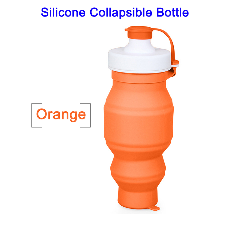 FDA LFGB 530ml Outdoor Silicone Collapsible Sport Water Bottle