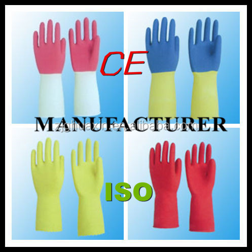 hot sale rubber gloves Yellow latex household gloves CE DHL303 Safety Gloves