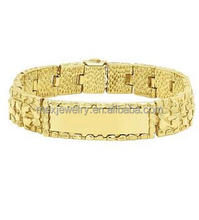 Men's Medium Classic Polished 15mm Wide 14k Gold Plated Nugget Link ID Bracelet