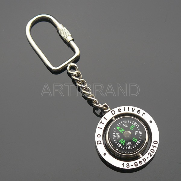 Promotional metal compass keychain