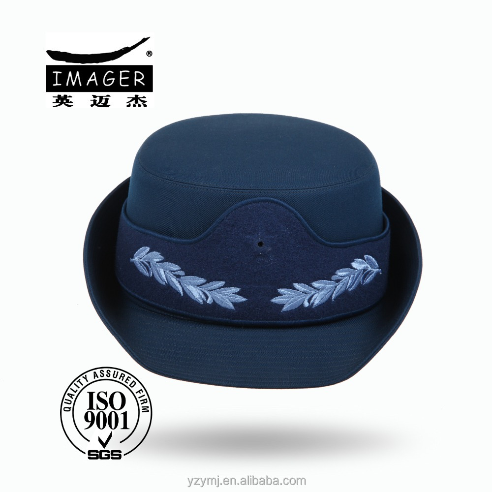 Chinese female precise uniform navy blue hat with embroidered peak