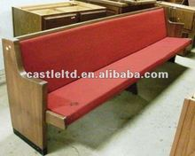 OAK wood Church Pew,seat with leather cushion