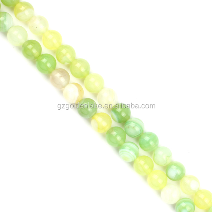 Green Grapes Stripe Agate Round Beads Natural Gemstone Agate Stone China Factory