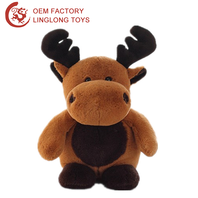 Xmas Indoor Decor Plush Christmas Deer For Kids Brown Stuffed Christmas Deer Doll Plush Standing Reindeer