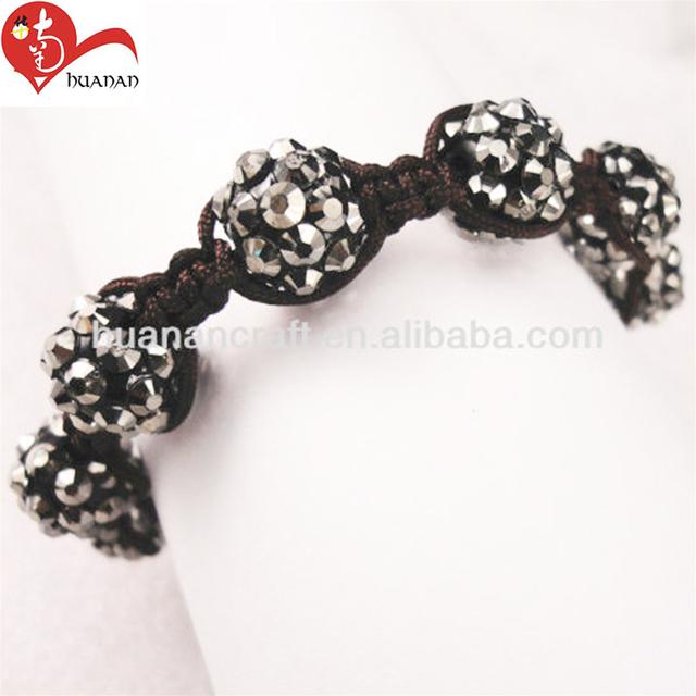 Black acrylic bracelet rhinestone easter cross crafts 10mm round bead christian rope bracelet