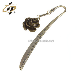 Wholesale cheap custom antique bronze bookmark with pendant