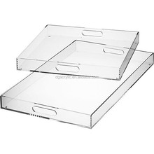 Wholesale plexiglass perspex serving tray clear stacking acrylic trays