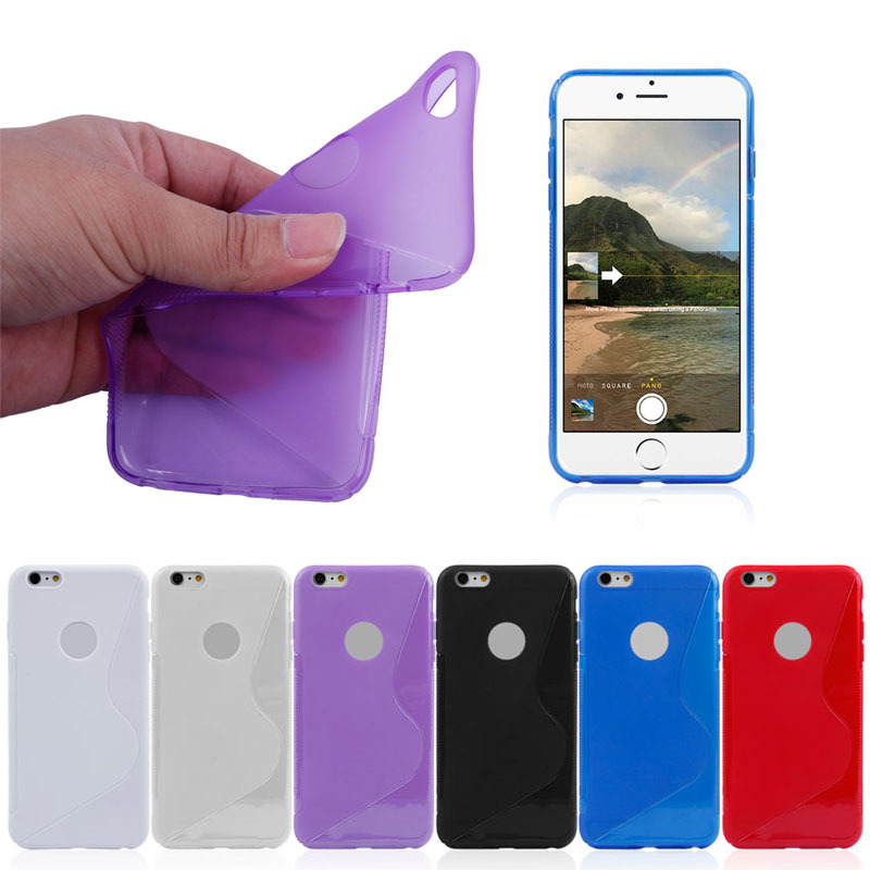 Hot Selling!!S-line TPU Case For iPhone 6 Plus With Logo Hole