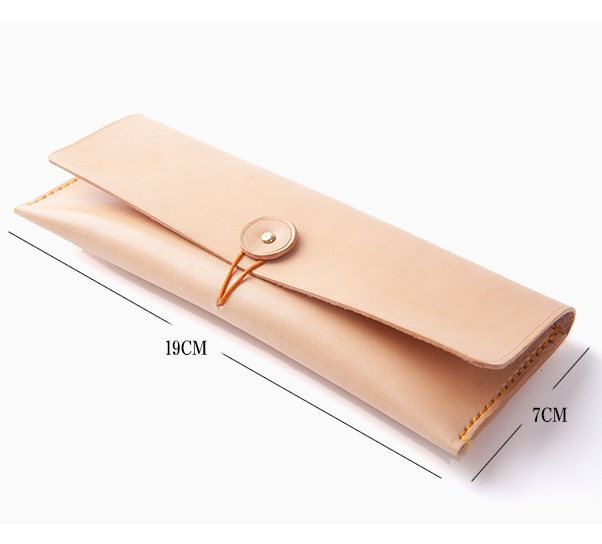 Hot sales simple style flip fold vegetable tanned leather pencil case for teenagers
