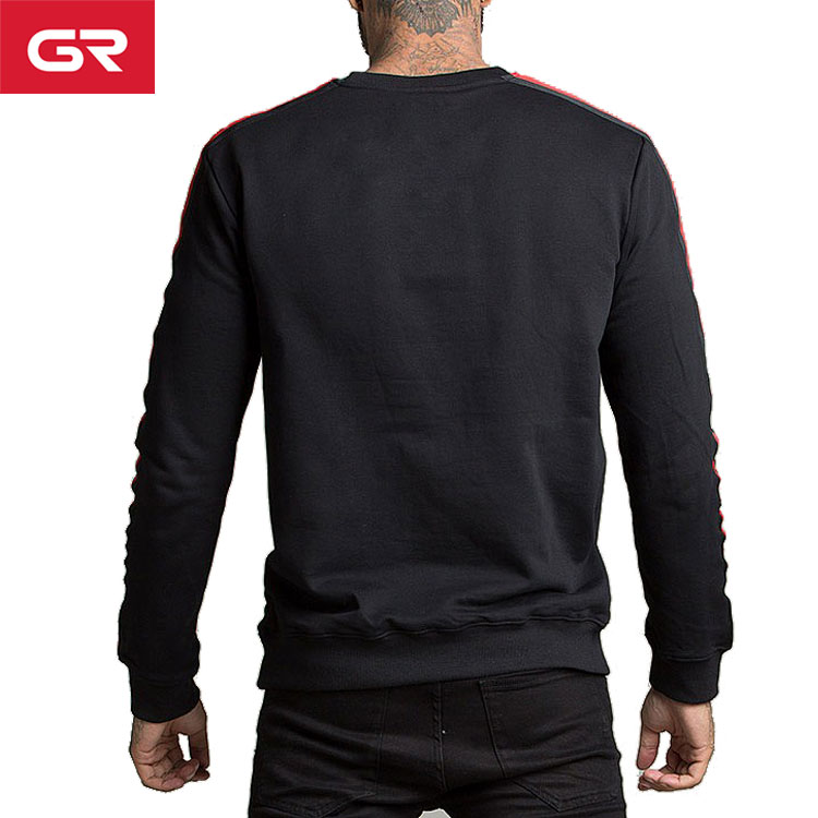 2019 Hot Custom Embroidered Side Taping French Terry Mens Crewneck Sweatshirt