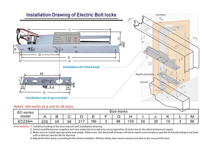 Time Delay Narrow Frame Fail Safe Special Electric Drop Bolt Door Lock Dc12v