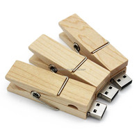 Logo Customize Wooden clip usb flash drive natural wood pendrives 4gb 8gb 32gb memory stick 16gb