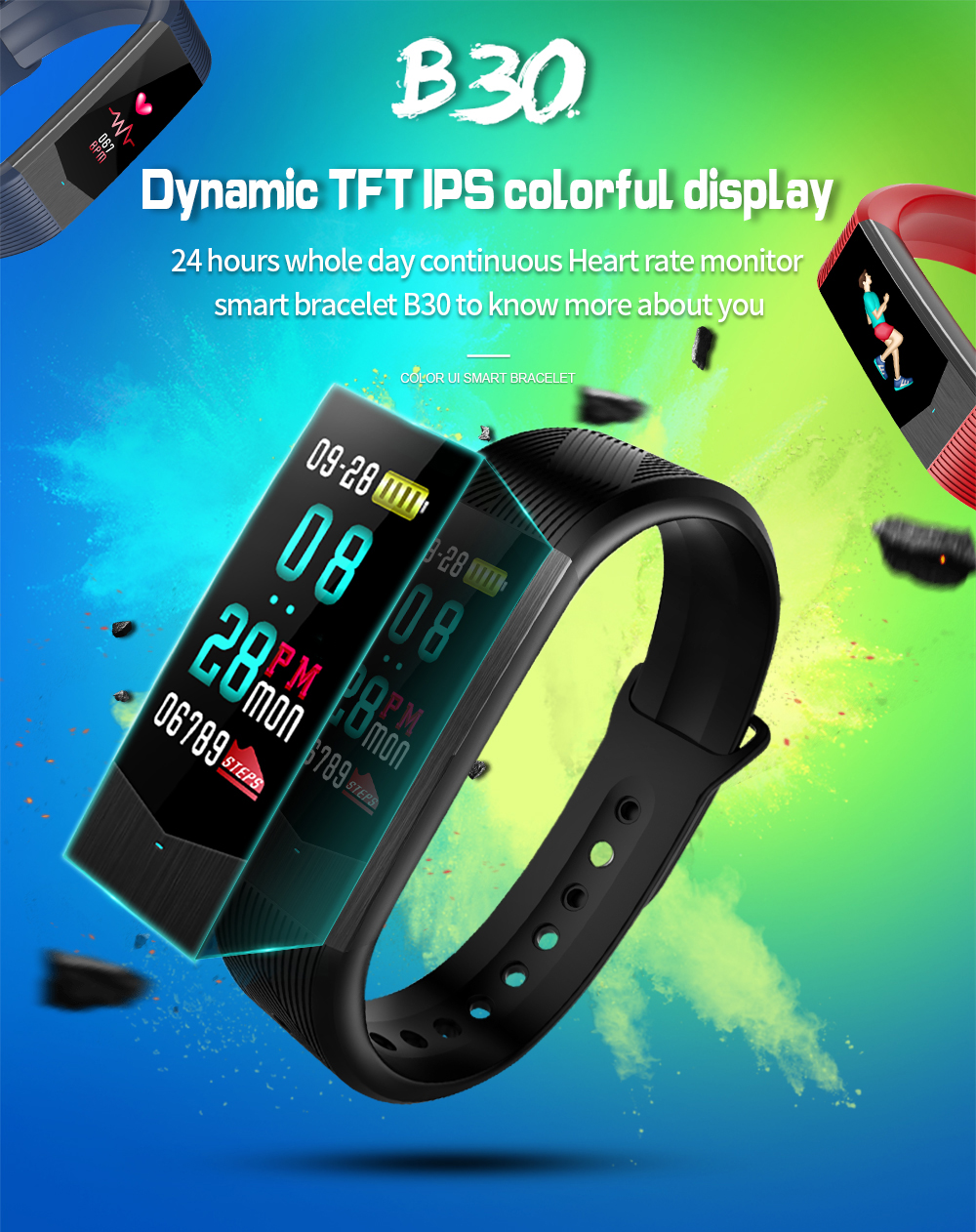 Wholesale pedometer fitness smart watch bracelet with CE ROHS
