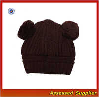 AL193/ Fashion Acrylic Kintted Hats With Cheaply Price Cat Ear Beanie Crochet Braided Knit
