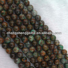 10mm natural genuine round green opal loose gemstone beads for fine jewelry making