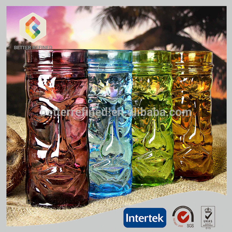 wholesale blown colored glass tiki mugs
