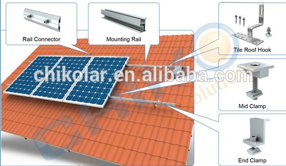 Aluminum alloy tile roof solar mount racking system