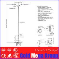 hot dip galvanized steel pole galvanized street lighting pole 7 m octagonal steel poles with specification