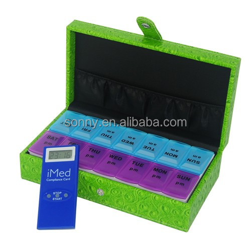 Imitation Croco PU Leather 30 Days Pill Box