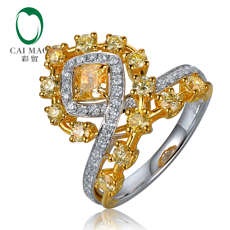 Excellenc cut yellow diamond Art Deco 18K two tone ring