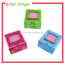 2 layers multi-function wooden jewelry storage box kids transparent cover jewerly organizer