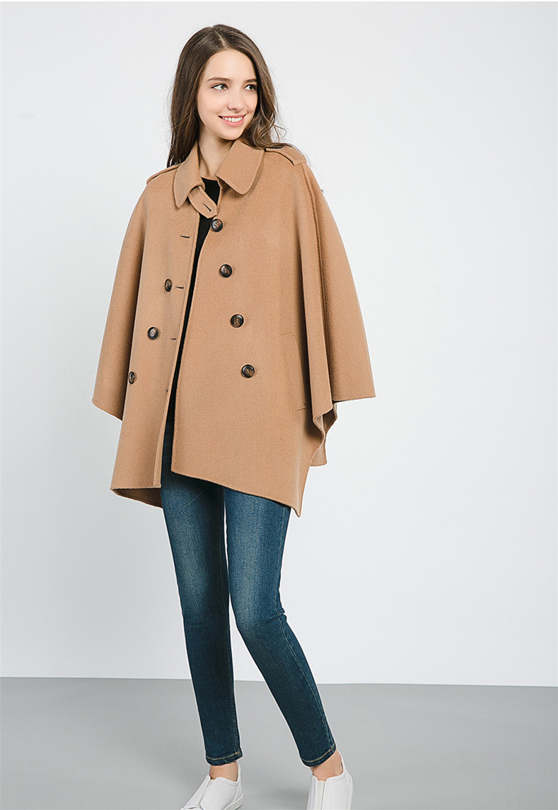 French classic design poncho woolen lapel coat camel and red color 2017 fashion classic girls autumn winter coat