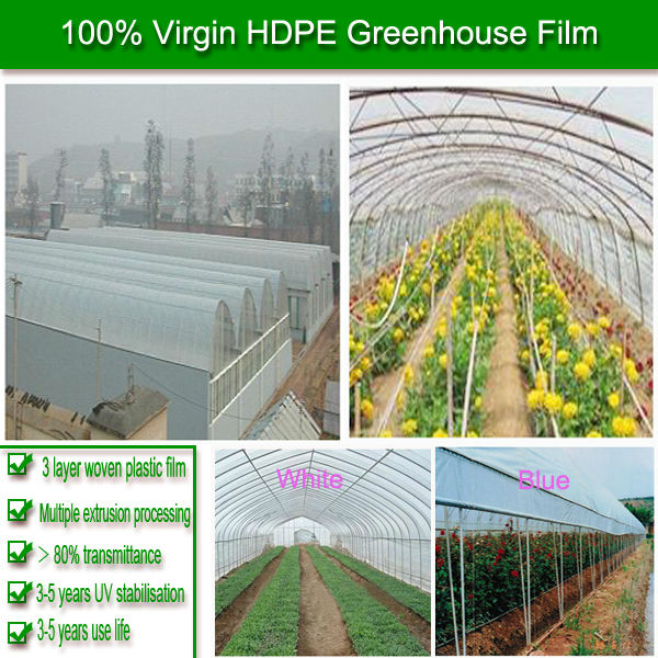 3 layers woven HDPE 5 years UV resistant pe protective clear plastic film for agricultural greenhouse construction
