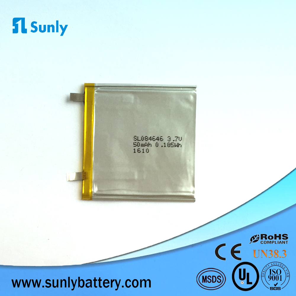 084646 50mAh,3.7v Paper Thin Battery for Digital Video Device