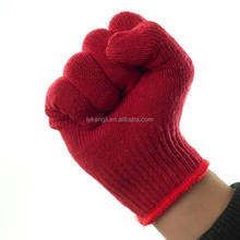 Red cotton fabric knitted hand gloves safety work