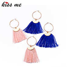ed00815bWholesale Cheap Large Brass Hoop Earrings, Silk Thread Tassel Edging Earrings