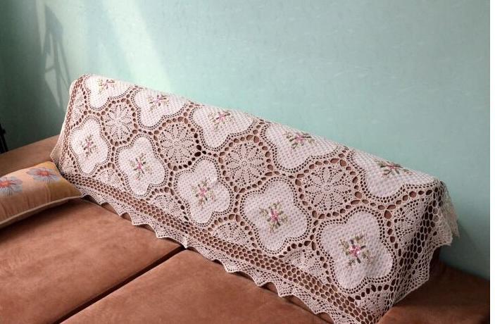 Handarbeit Baumwolle + seide Blume bestickte Tischdecken Beige Sofa ...